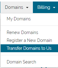billing -> transfer a domain to us